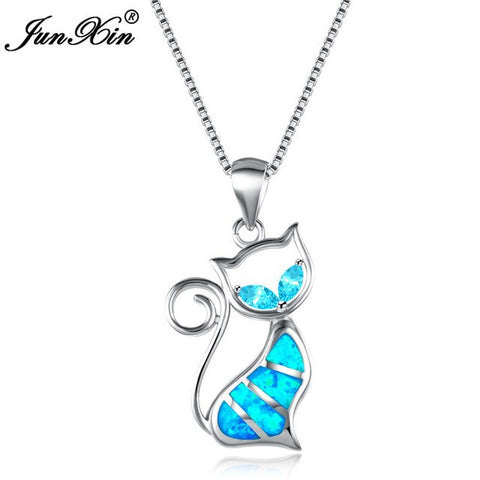 Image of CAT NECKLACE / PENDANT - BLUE FIRE OPAL