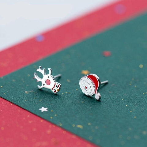 SANTA CLAUS DEER 925 SILVER STUD EARRINGS