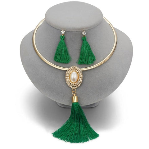 Image of STUNNING NIGERIAN JEWELRY SET - CRYSTAL TASSEL NECKLACE & PENDANT - STATEMENT COLLAR -WATER DROP JEWELRY SET