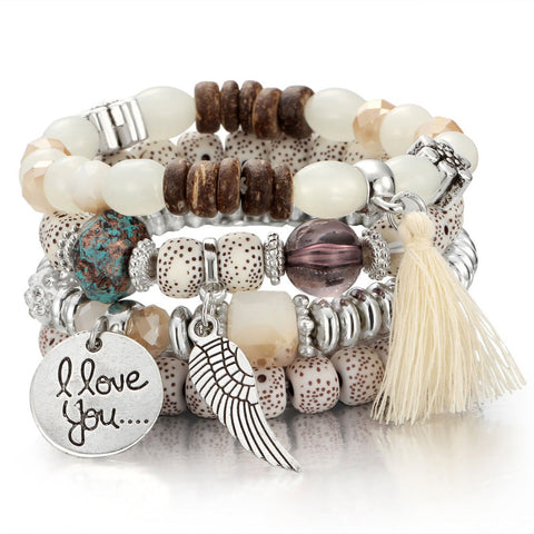 Image of I LOVE YOU - CRYSTAL BEAD - VINTAGE BRACELETS
