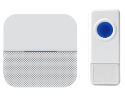 Wireless Waterproof Doorbell / Panic Button, B6 Series, 52 Chimes, White/Blue - 1,000 Ft Range