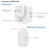 Wireless Waterproof Frosted Doorbell / Panic Button, H1 Series, 52 Chimes, White - 1,000 Ft Range