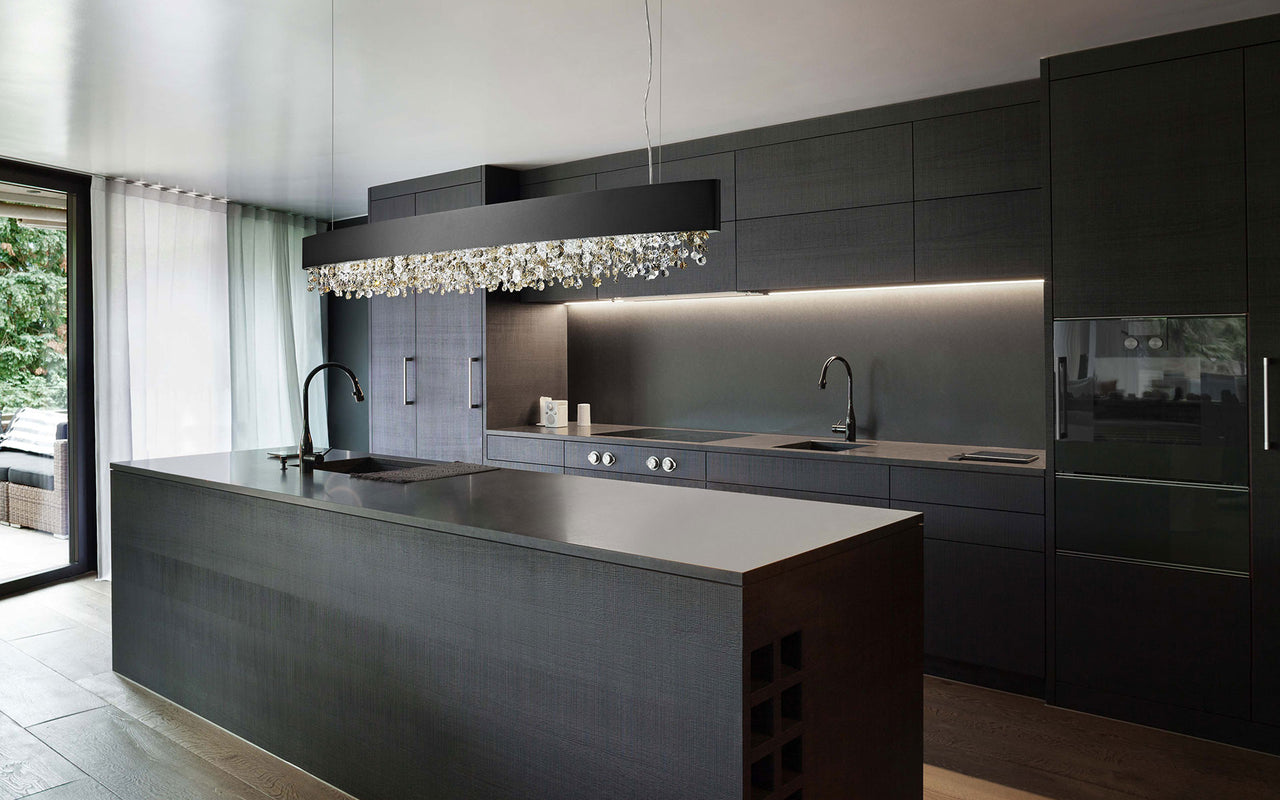 Masiero chandelier in modern kitchen