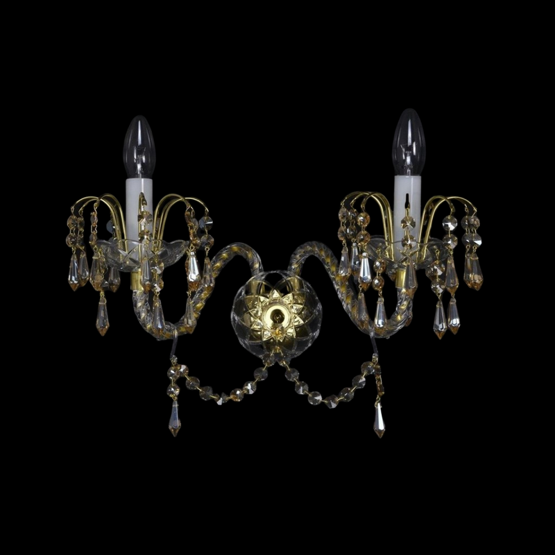 2 Arm Crystal Wall Light - Ceremonial-Luxury Lighting Boutique