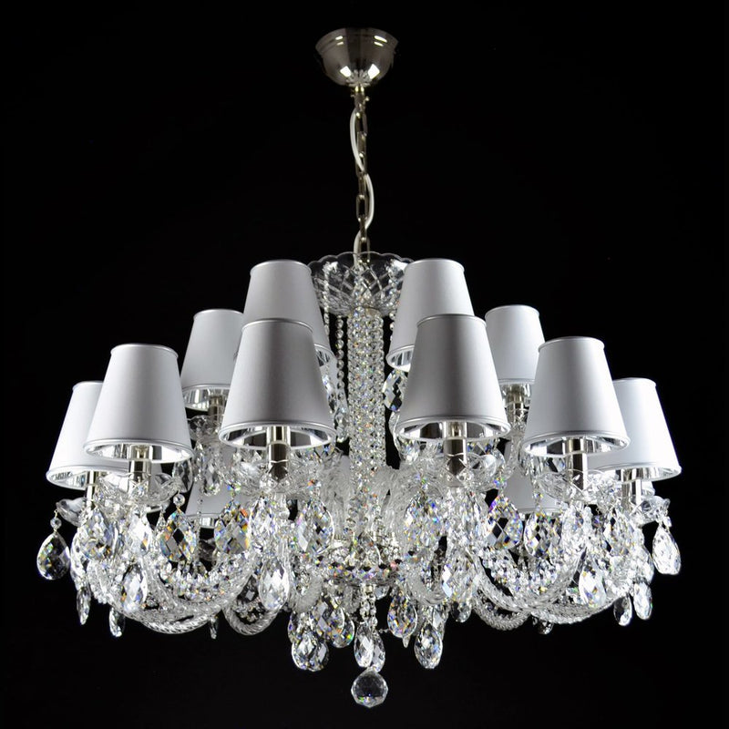 18 Light Crystal Chandelier with Custom Lampshades - Maniero-Luxury Lighting Boutique