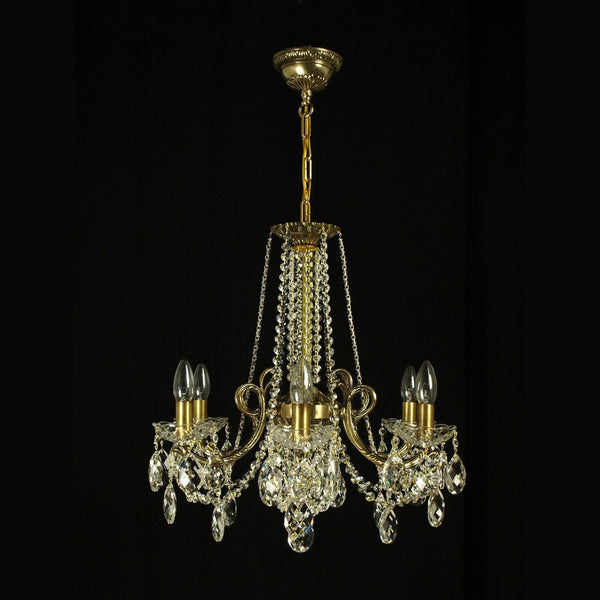 6 Light Brass Crystal Chandelier - Zodiac-Luxury Lighting Boutique