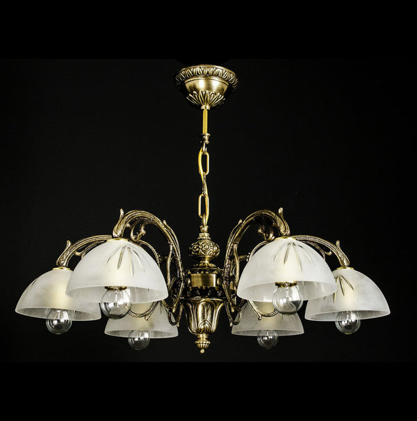6 Light Brass Chandelier - Startos-Luxury Lighting Boutique