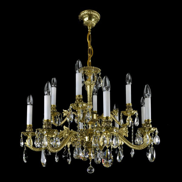 12 Light Brass & Crystal Chandelier - Avia-Luxury Lighting Boutique