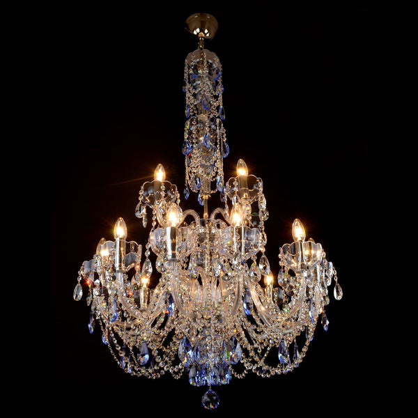 16 Light Grey Crystal Chandelier - Zen-Luxury Lighting Boutique