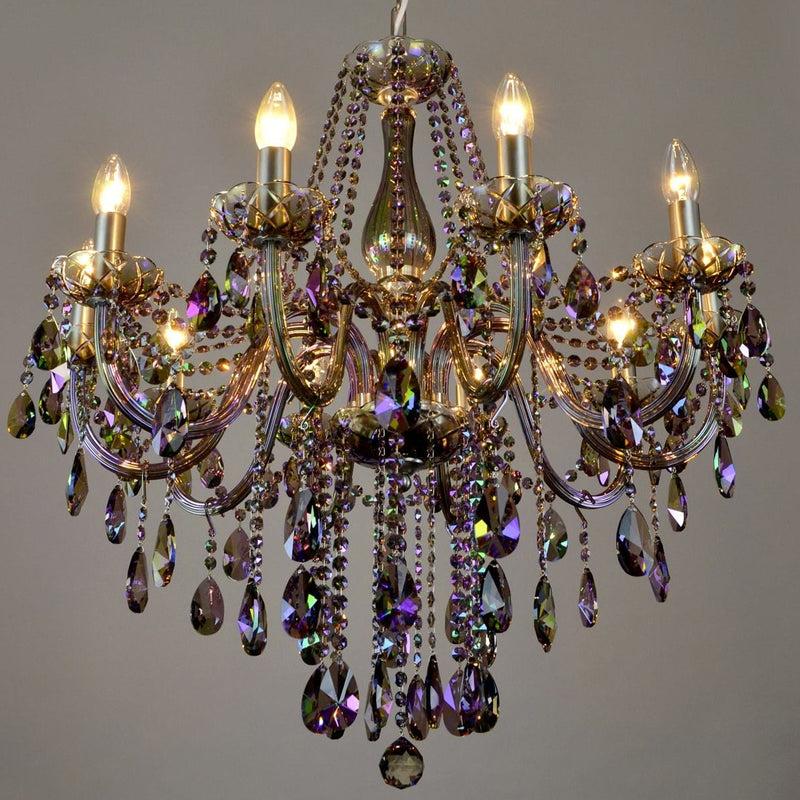 10 Light Coloured Crystal Chandelier - Paradiso