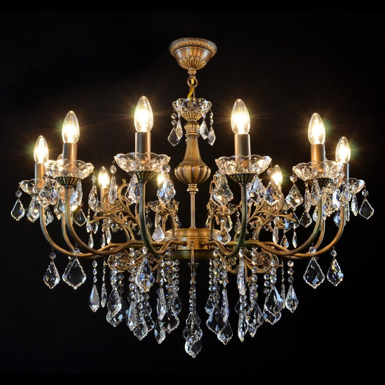 12 Light Brass & Crystal Chandelier - Erria-Luxury Lighting Boutique