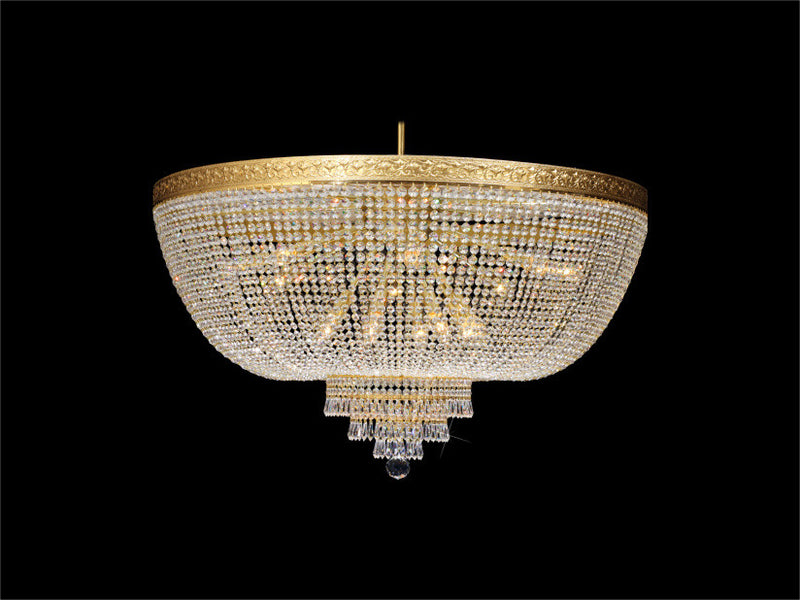 basket flush mount chandelier - 16 light