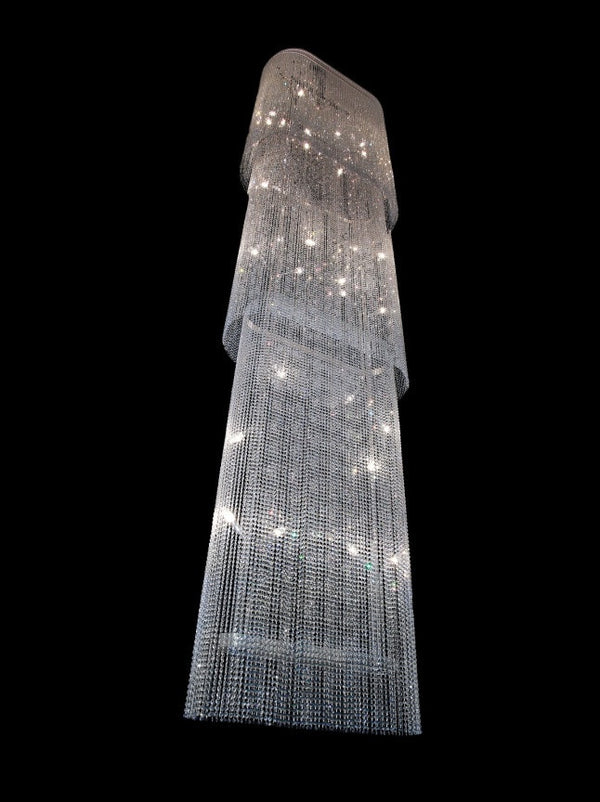 Long staircase crystal chandelier - 9 light