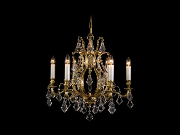 brass and crystal 6 arm chandelier