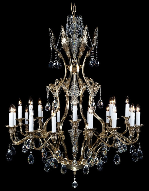 brass and crystal 24 arm chandelier