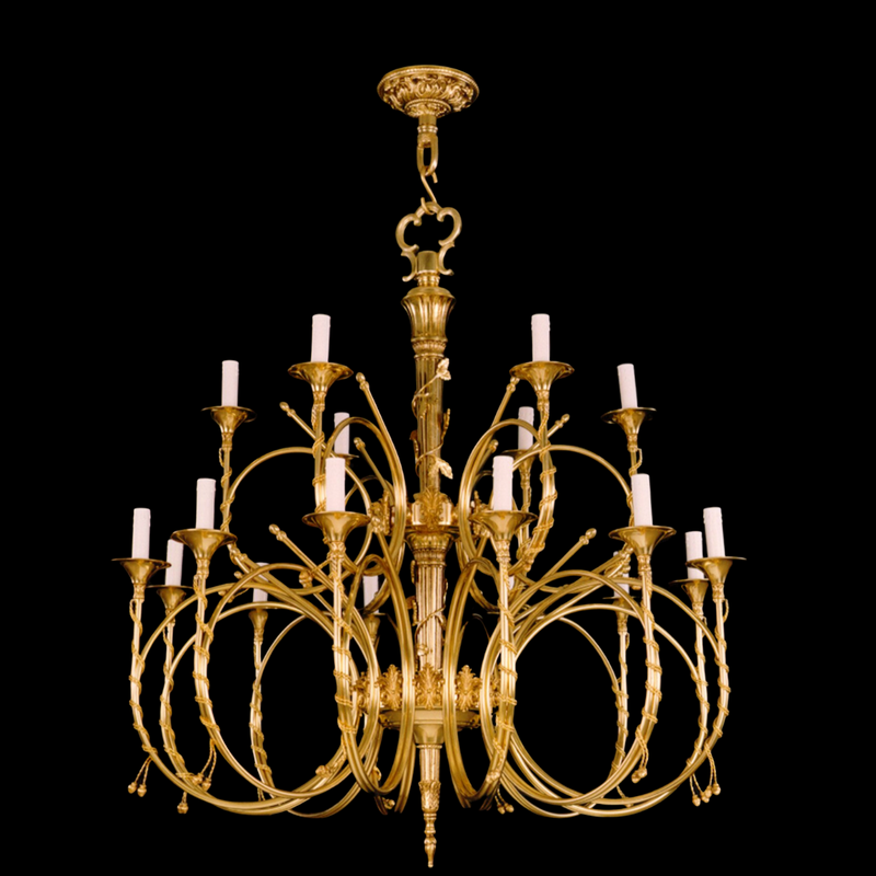 18 Light Brass Chandelier - Martinez Y Orts-Luxury Lighting Boutique