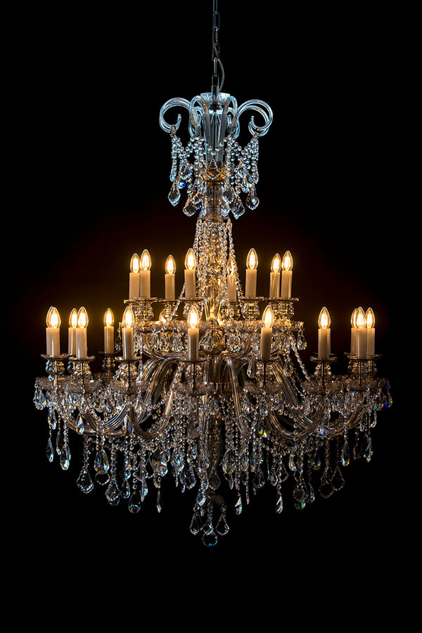 Smoke Grey 24-Light Crystal Chandelier - Glass LPS