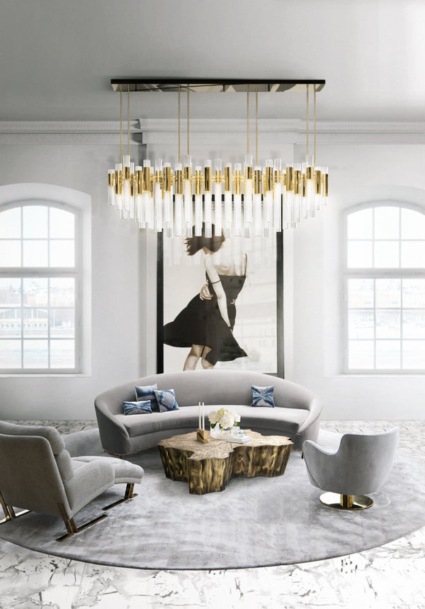 80 Light Waterfall Rectangular Chandelier - Luxxu-Luxury Lighting Boutique