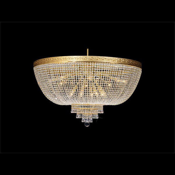 Triangolo - 16 Light Basket Flush Mount Chandelier