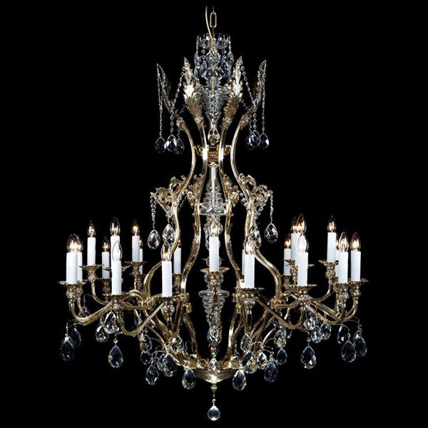 24 Light Brass & Crystal Chandelier - Traditional