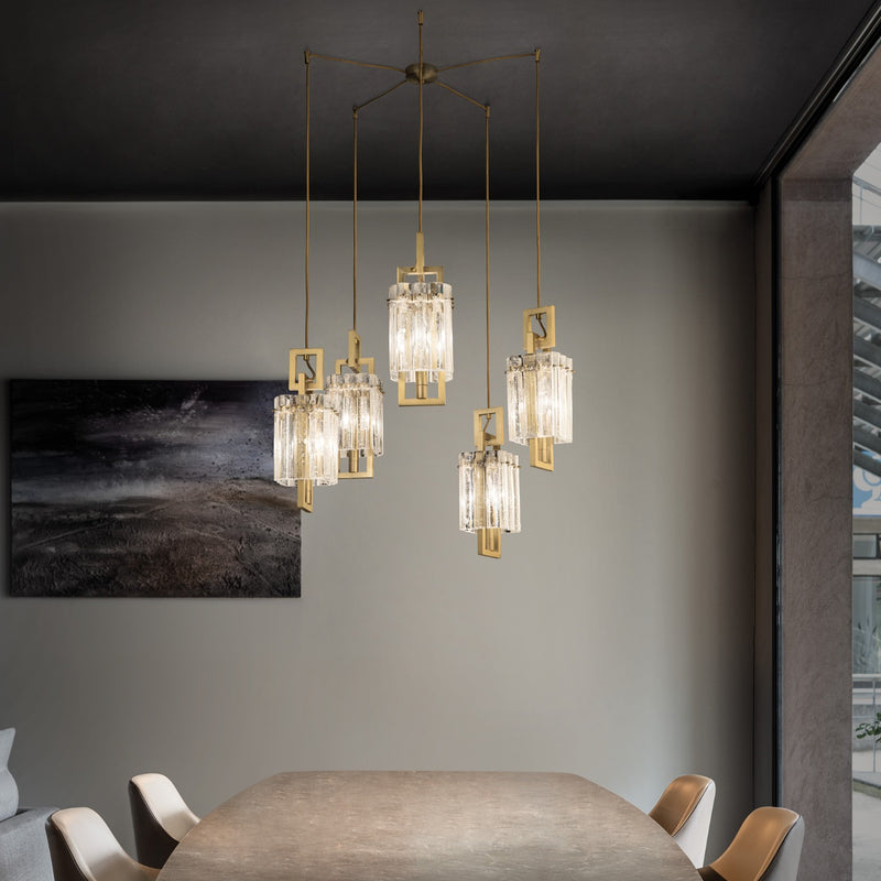 5 Light Modern Suspension Chandelier - Masiero Crek Suspension 5-Luxury Lighting Boutique