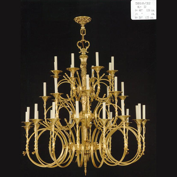 32 Light Brass Chandelier - Martinez Y Orts-Luxury Lighting Boutique