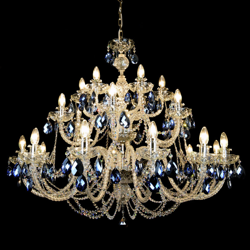 24 Light Coloured Crystal Chandelier - Oceana