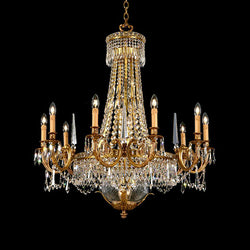 18 Light Strass Crystal & Brass Chandelier - Martinez Y Orts-Luxury Lighting Boutique