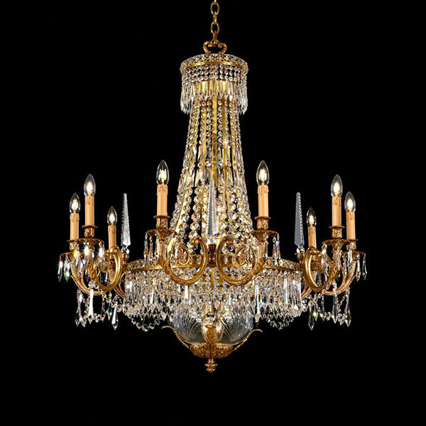 18 Light Strass Crystal & Brass Chandelier - Martinez Y Orts