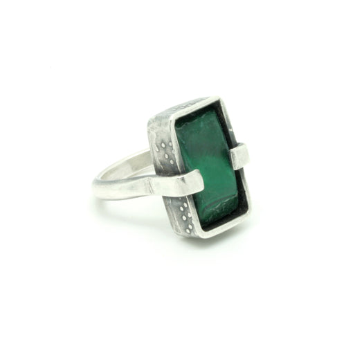 Malachite Embossed Silver Box Set Ring