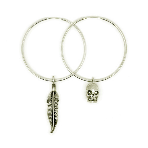 Small Silver Skull & Feather Oversized Hoop