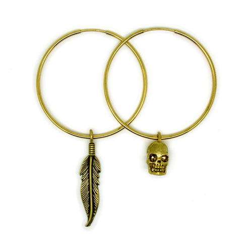 Small Gold Skull & Feather Oversized Hoop