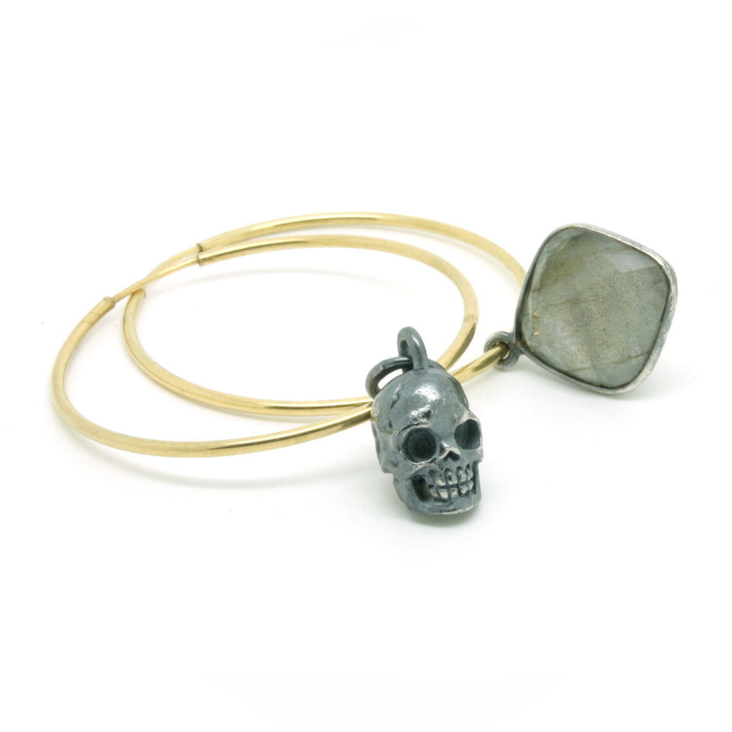 Small Skull & Labradorite Drop Oversized Hoops