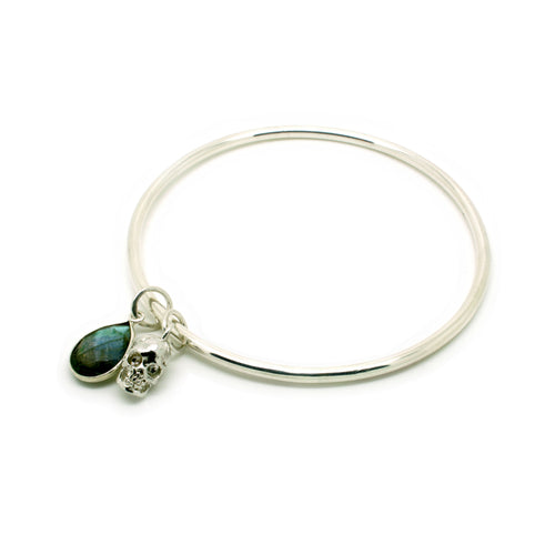 Small Skull & Labradorite Teardrop Bangle