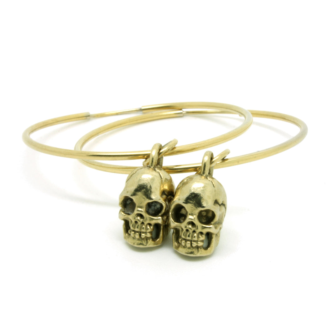 Small Gold Skull Oversized Hoops