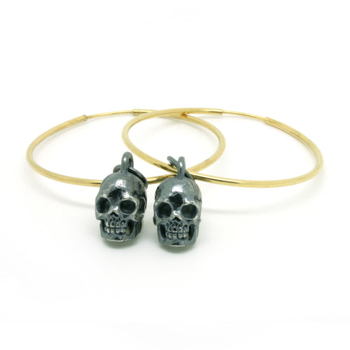 Small Oxidised Skull Oversized Hoops