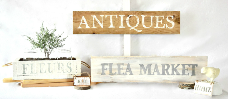 Rustic Antiques and Flea Market signs by Recreated Designs