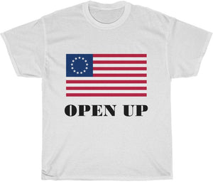 Open Up America Flag T Shirt Unisex Adult