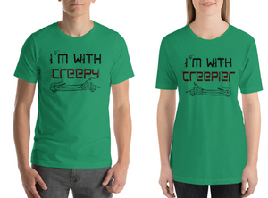 I'm With Creepy Matching Men and Women Couple T-Shirts