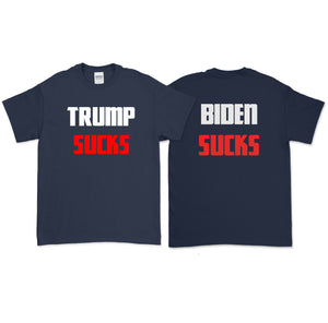 Trump & Biden Suck Front and Back Print T-Shirt