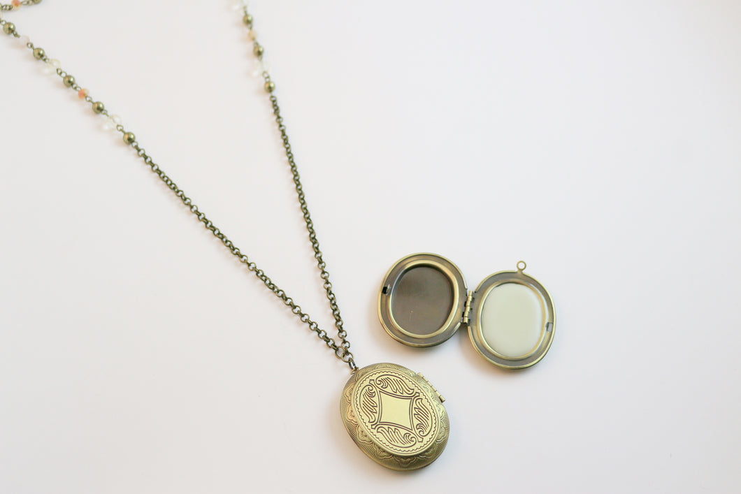 Solid Perfume Locket Necklace (Large Bronze Oval on 36-inch Beaded Chain)