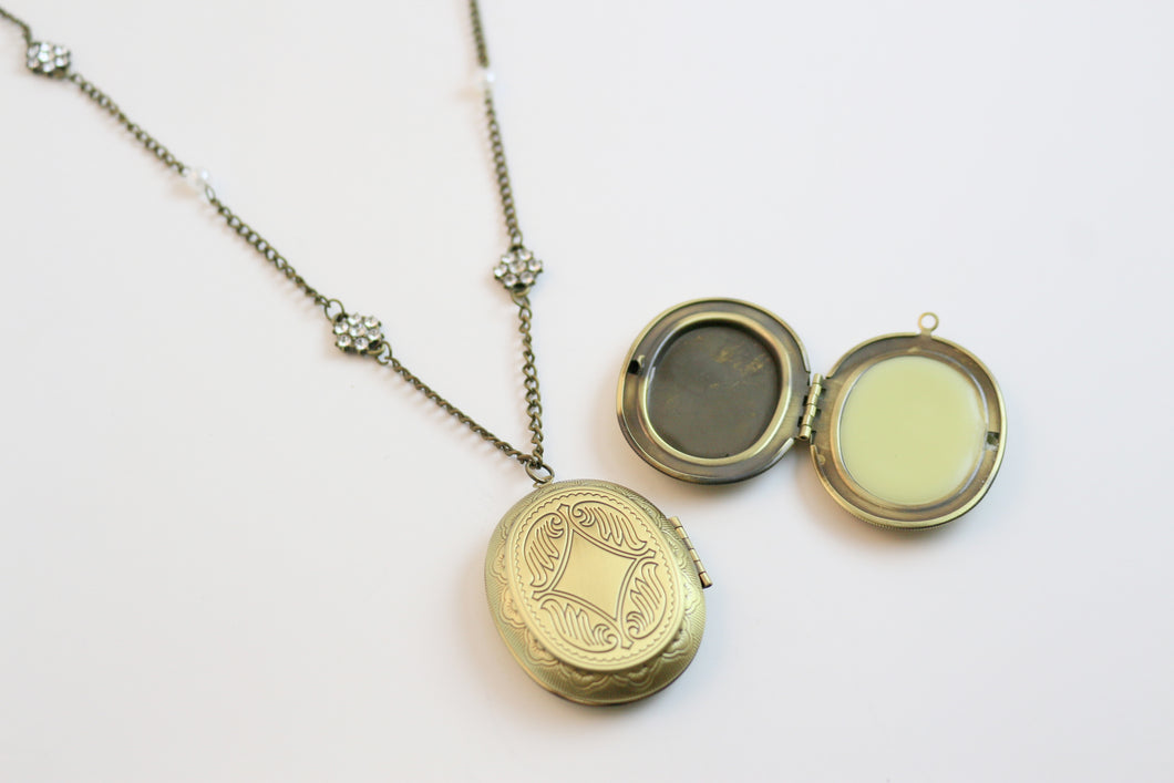 Solid Perfume Locket Necklace (Large Bronze Oval on 24-inch Beaded Chain)