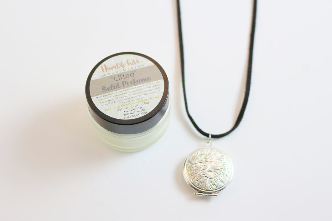 Solid Perfume Locket Necklace & Jar of Perfume (Silver Circular Locket on Black Leather Cord)