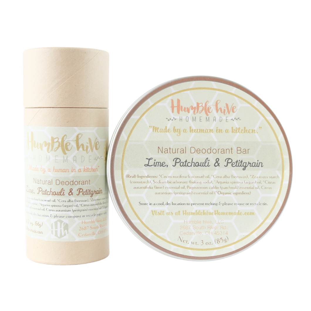 Toxin-Free, Natural Deodorant- Lime, Patchouli & Petitgrain