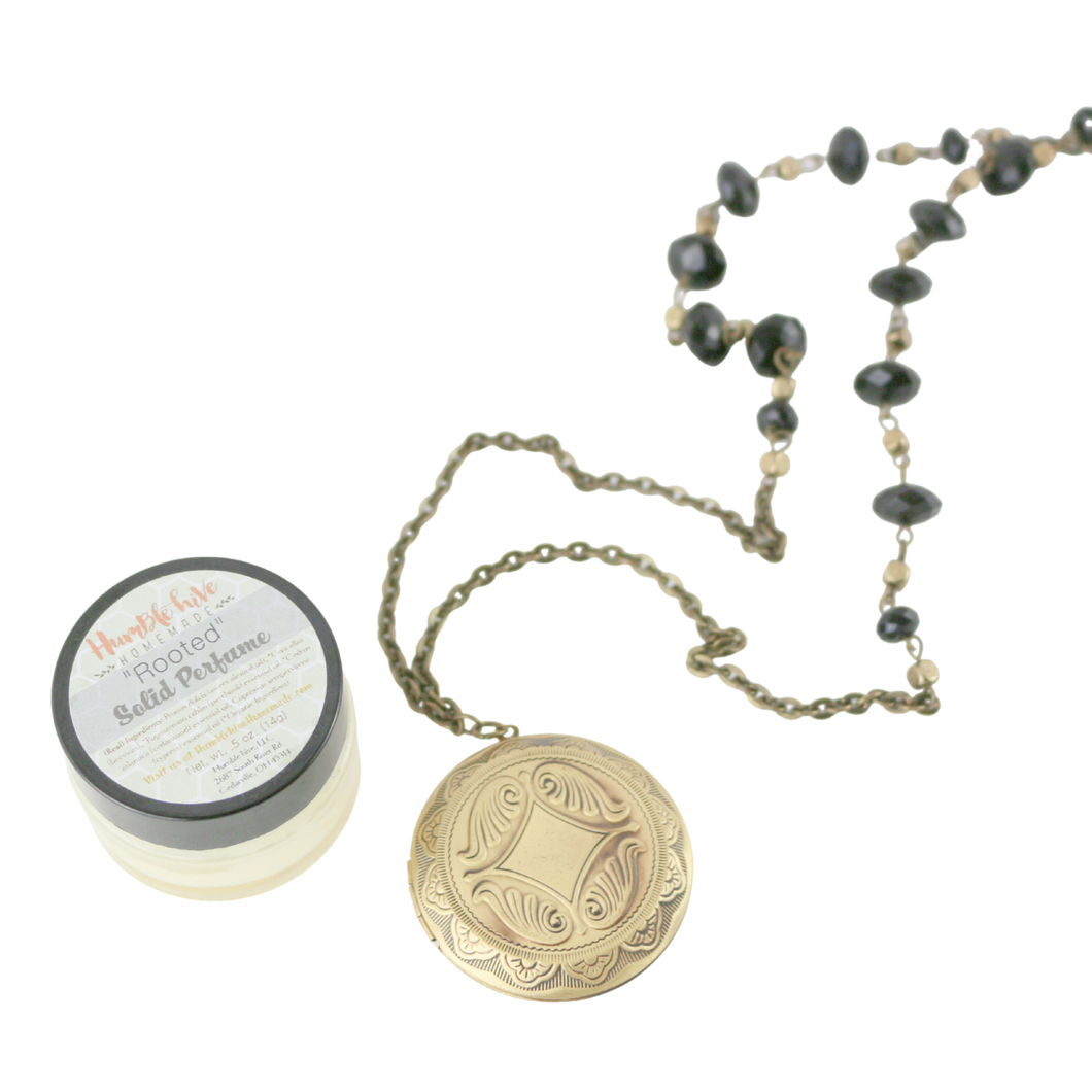Solid Perfume Locket Necklace & Jar of Perfume (Large Bronze Circle on 36-inch Black Beaded Necklace)