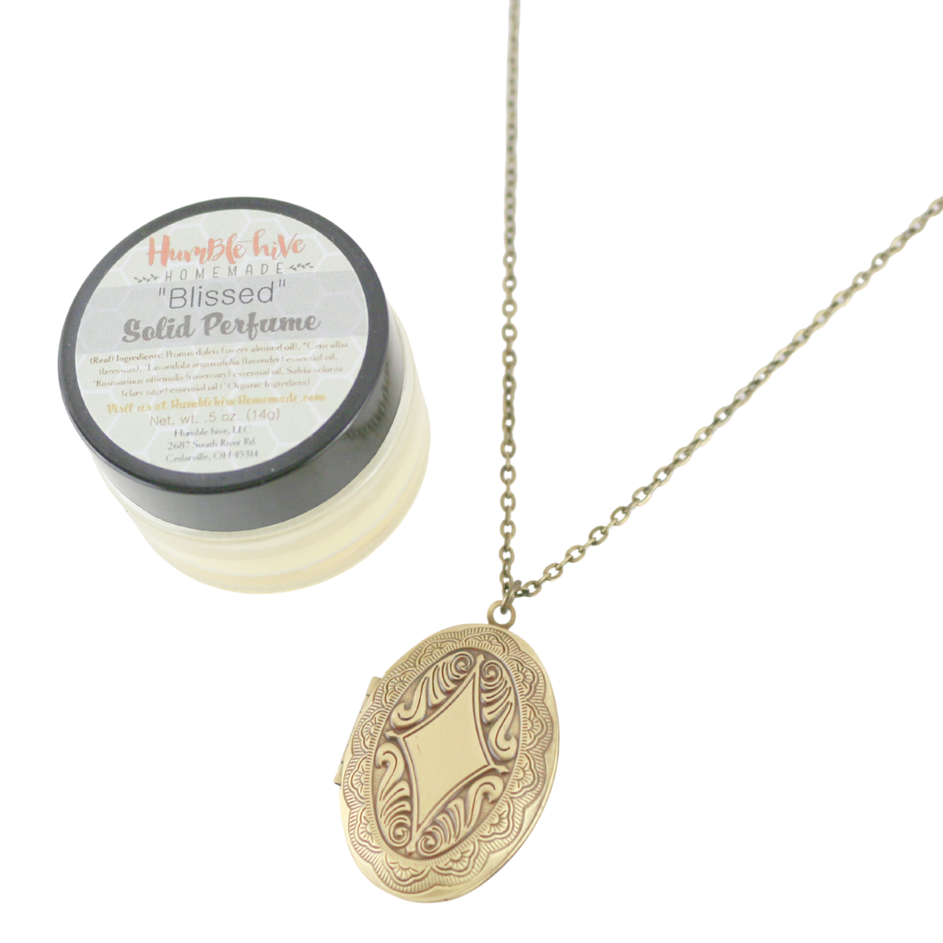 Solid Perfume Locket Necklace & Jar of Perfume (Small Bronze Oval on 18-inch Chain)