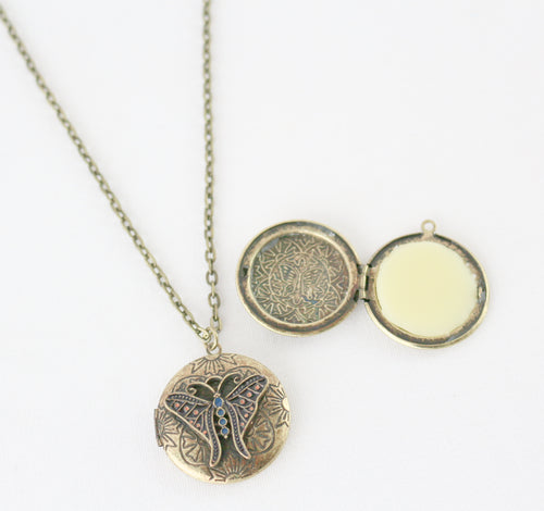 Solid Perfume Locket Necklace (Small Circular Butterfly on 18-inch Chain)
