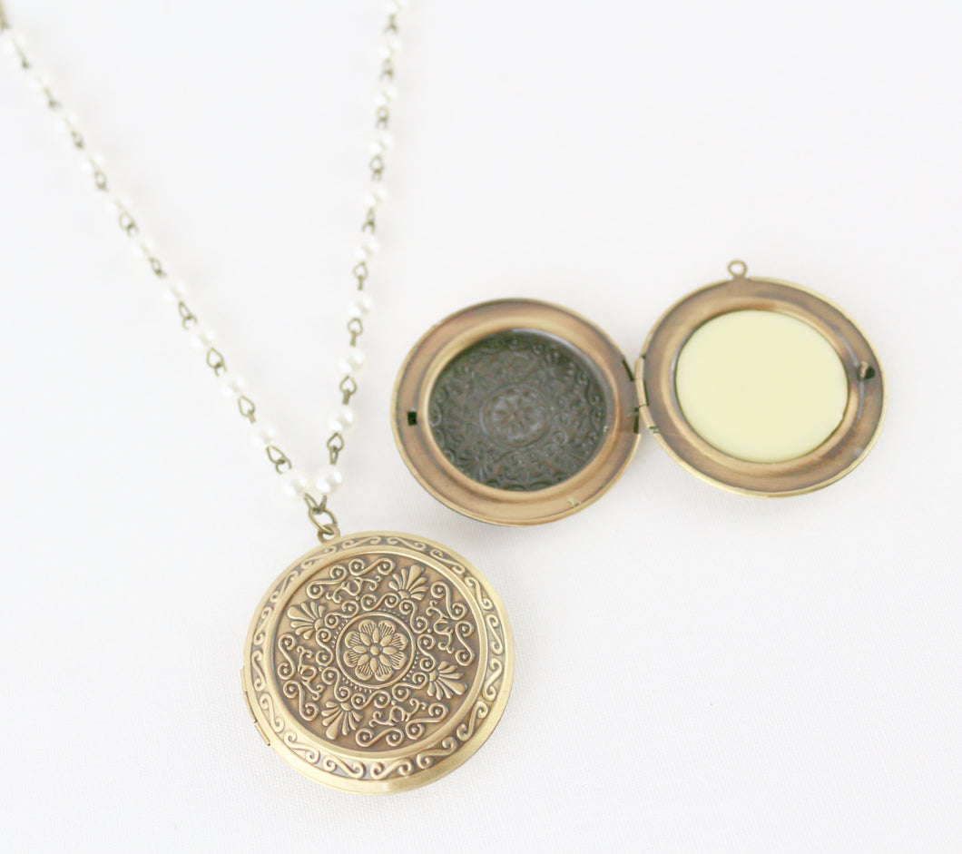 Solid Perfume Locket Necklace (Large Intricate Bronze Circle on 30-inch Pearl Beaded Necklace)