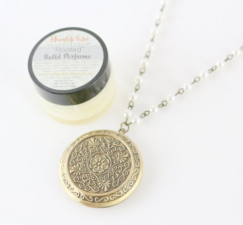 Solid Perfume Locket Necklace & Jar of Perfume (Large Intricate Bronze Circle on 30-inch Pearl Beaded Necklace)