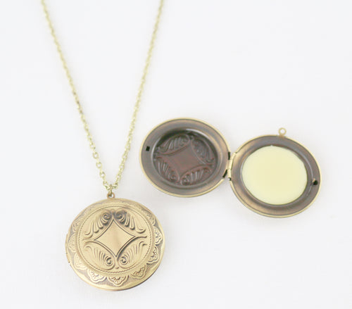 Solid Perfume Locket Necklace (Large Intricate Bronze Circle on 28-inch Chain)